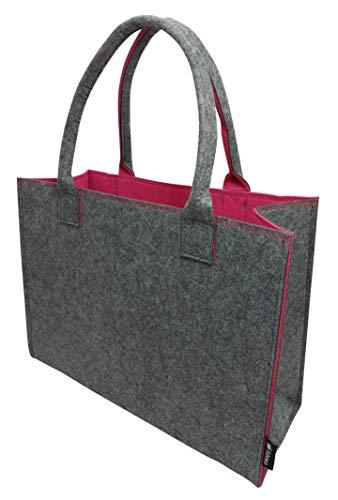 Tebewo Shopping-Bag aus Filz, große Einkaufs-Tasche mit Henkel, Einkaufskorb, vielseitige Tragetasche, Farbe grau/Magenta
