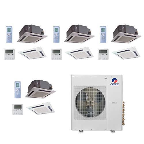 GREE MULTI36CCAS406-36,000 BTU Multi21+ Quad-Zone Ceiling Cassette Mini Split Air Conditioner Heat Pump 208-230V(12-12-12-12)