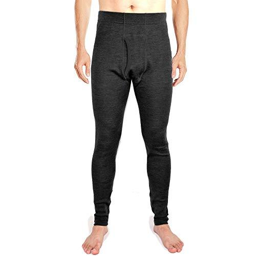 SHEEP RUN 100% Merino Wool Men's Midweight Anti Odor Thermal Underwear Bottom Pant Long Johns (Black, XL)