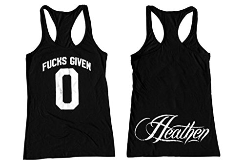 Heathen Women's F's Given 0 Tank (2X-Large, Black)