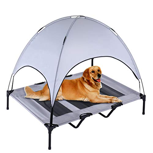 SUPERJARE XLarge Outdoor Dog Bed, Elevated Pet Cot with Canopy, Portable for Camping or Beach, Durable 1680D Oxford Fabric, Extra Carrying Bag - Silver Gray