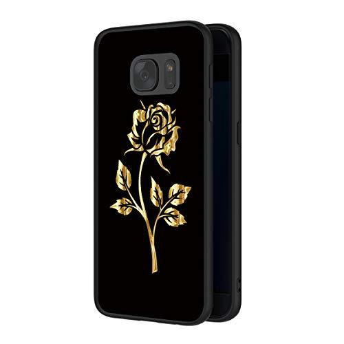ZhuoFan Cover Samsung Galaxy S7, Custodia Cover Silicone Nero con Disegni Ultra Slim TPU Morbido Antiurto 3d Cartoon Bumper Case Protettiva per Samsung Galaxy S7 Smartphone (Oro rosa)