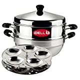 iBELL IP10P2MULTI Stainless Steel Idli Pot/Steamer with Kadai, 2 Plate, 10 Idly, High Food Grade Stainless Steel, Silver