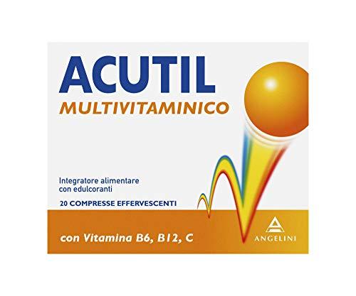 Acutil Multivitaminico Effervescente, Integratore Alimentare con Minerali, Fosfoserina, Vitamina B12, B6 e Vitamina C. Riduce Stanchezza Mentale e Fisica, 20 Compresse Effervescenti
