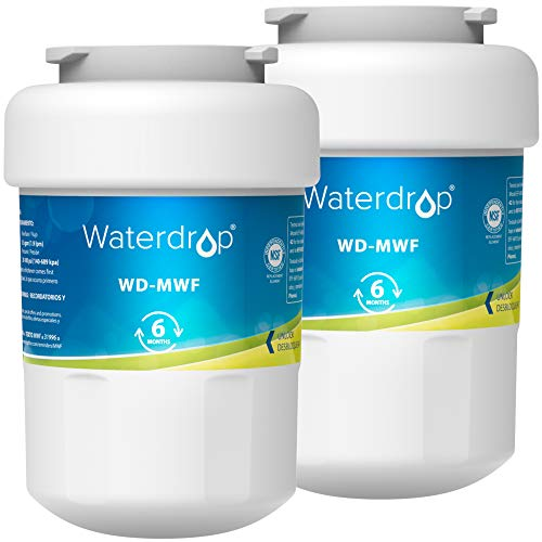 Waterdrop MWF Refrigerator Water Filter, Replacement for GE Smart Water MWF, MWFINT, MWFP, MWFA, GWF, HDX FMG-1, GSE25GSHECSS, WFC1201, RWF1060, 197D6321P006, Kenmore 9991, r-9991, 2 Filters