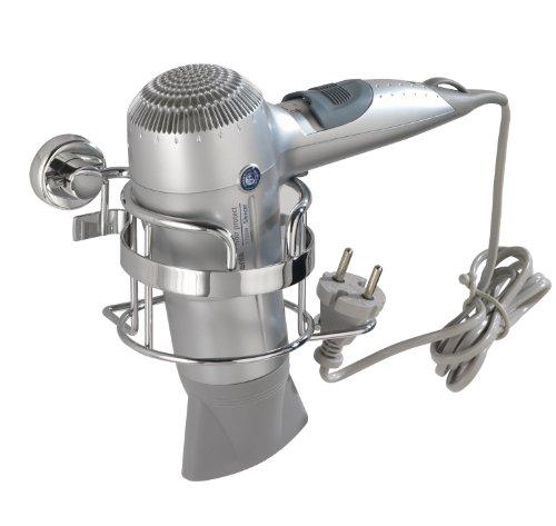 WENKO Power-Loc Haartrocknerhalter Sion - Befestigen ohne bohren, mit Kabelhalter, Stahl, 16 x 10,5 x 12,5 cm, chrom