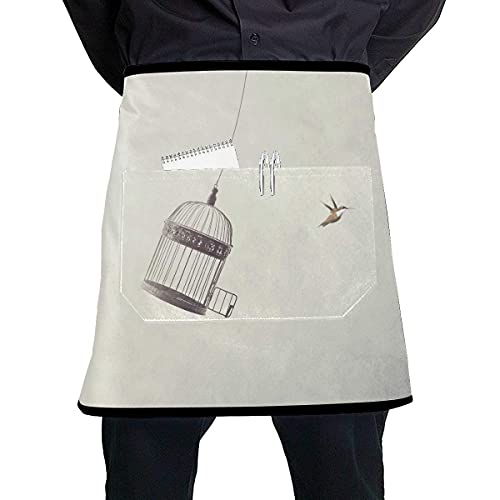 N\A Print Waitress Apron Little Birds Escape Out Birdcage Freedom Art Waist Apron with Large Pocket Unisex for Kitchen Crafting BBQ Drawing