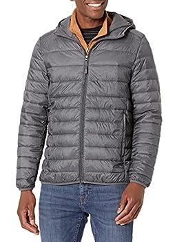 Amazon Essentials Men s Lightweight Water-Resistant Packable Hooded Puffer Jacket Charcoal Heather Medium