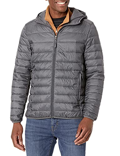 Amazon Essentials Men's Lightweight Water-Resistant Packable Hooded Puffer Jacket, Charcoal Heather, Large