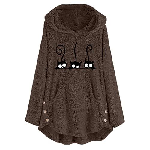 Sudadera con capucha para mujer, larga, otoño, invierno, monocolor, bordado de gato, forro polar, grande, con bolsillos, chaqueta de felpa para mujer, elegante sudadera de manga larga, marrón, XXL