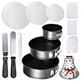 Stainless Steel Springform Cheesecake Pan and 150-piece Parchment Paper Liners - 4' 7' 9' Non-stick Round Bakeware Cake Pan 2 Icing Spatula 3 Icing Smoother