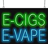 E-Cigs E-Vape Neon Sign - Large Size - 24' Wide x 18' high - Green & Blue Letters - Real, Quality Hand Bent Neon Tubing