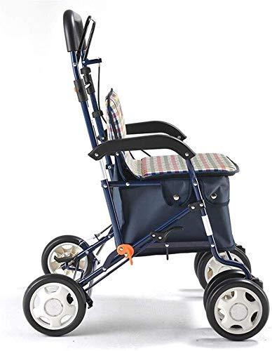 XXY.XXY Rollstuhleinkaufswagen - Leichter Einkaufswagen/Wagen/zusammenklappbarer Aluminiumstuhl/Lebensmittelgeschäft-Gehwagen Gehwagen mit vier Rädern , Geeignet für Senioren und Menschen in