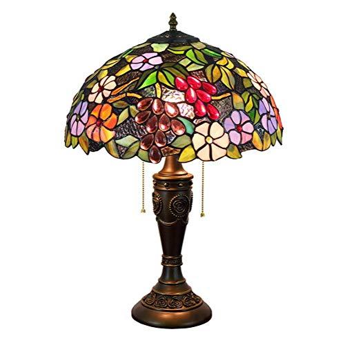 BINGFANG-W Dormitorio Tiffany Lámpara de Mesa Flores Y Uvas Shade 16 Pulgadas del Estilo del vitral de Tiffany Cubierta Habitación (40 cm) Vida de la lámpara lámpara de cabecera Lámpara de Mesa