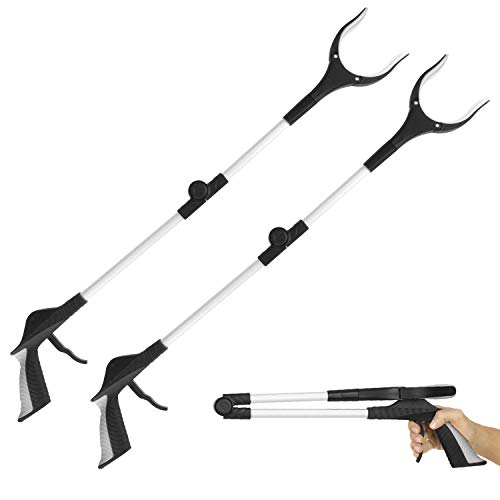 Vive Folding Reacher Grabber 32 Inch 2 Pack  Extra Reach Extender  Heavy Duty Mobility Grip Hand Aid  Extra Long Handled Tool  Trash Litter Picker Garbage Garden Nabber Disabled Handicap Arm