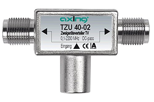 Axing TZU 40-02 2-Fach Verteiler Sat (0,1 bis 2200 MHz) zum Aufstecken auf Satelliten-Anschluss