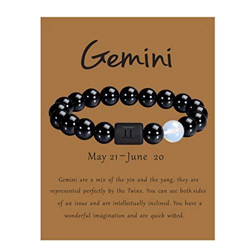 VLINRAS Zodiac Gemini Bracelet for Men Women Gemini Gifts Natural Black Onyx Stone Zodiac Charm Bracelet Constellation Horoscope Jewelry