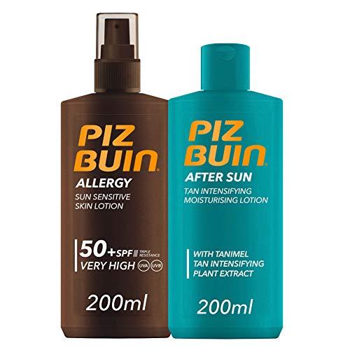 Piz Buin, Allergy, Spray Piel Sensible, SPF 50+, Cuerpo, Protección muy alta,200ml +After Sun Loción Intensificadora del bronceado,200ml