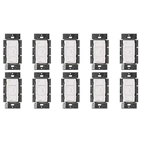 Lutron PD-5NE-WH Caseta Wireless Smart Lighting Dimmer Switch, 10-PACK, White