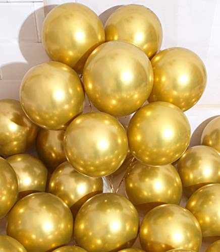 AULE Party Balloons 50 Pcs 12 inches Gold Metallic Chrome Helium Shiny Latex Thicken Balloon Perfect Decoration for Wedding Birthday Baby Shower Graduation Christmas Carnival