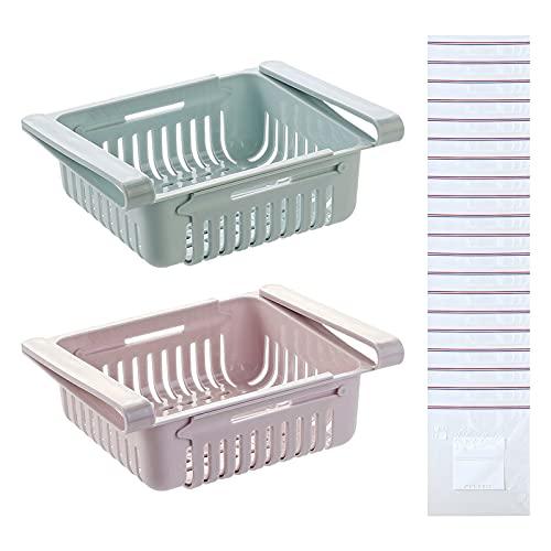 2 cajones de almacenamiento para frigorífico, organizadores de frigorífico retráctiles con 20 bolsas con cierre de agarre cajones cesta de frutas para ahorrar espacio extraíble para verduras y
