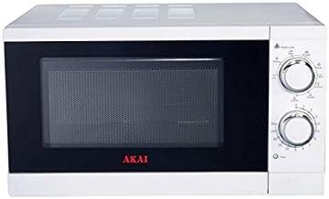 Akai Microondas AKMW200 Blanco, con Grill, 20L, 700 W, 20 litros, Acero Inoxidable
