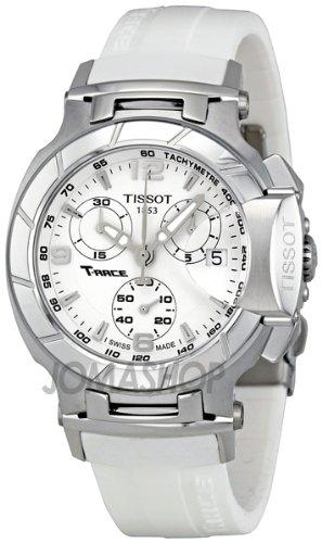 Tissot T-Race Chronograph White Gummi Riemen Damen Watch T0482171701700