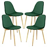 YJCfurniture Dining Chairs Set of 4 Mid Century Modern Side Chairs,Retro Velvet Upholstered Dining Chair with Metal Tube (Green) …