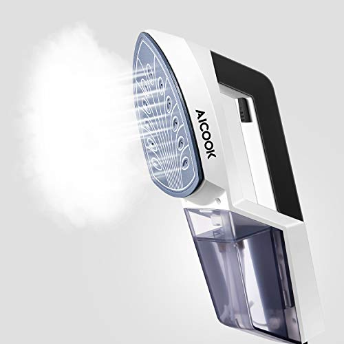 Aicook Plancha Ropa Vapor Vertical, 1100W Planchas de Ropa con Placas Termostáticas de Cerámica, Función de Impulso, Fast Heat-up Plancha de Vapor, Anti-Drip 2 en 1 Portátil para Planchas de Viaje