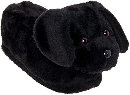 Silver Lilly Black Lab Slippers - Plush Labrador Dog Slippers w/Platform (Black, Large)