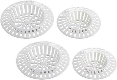 Wenko 4920220100 Abfluss-Sieb, Kunststoff, Weiß, 4er Set
