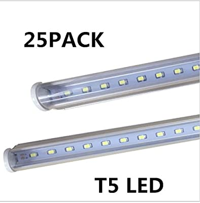 25-Pack, T5 LED Tube Light Bulb, 2FT 3FT 4FT, AC 85V-265V, Ballast Bypass, Clear Cover, CE & UL & DLC Certification …