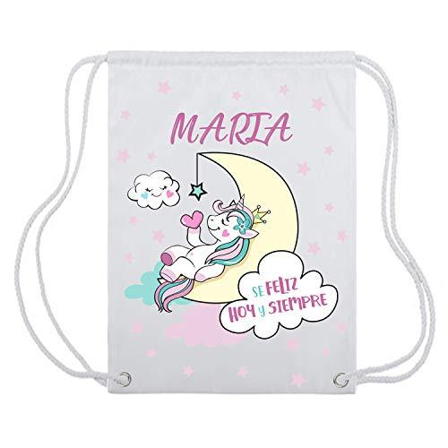 Kembilove Mochila de Unicornio Personalizada - Bolsa con cordón de Unicornio con Nombre Personalizado y Frase Positiva - Mochila Personalizada Infantil Vuelta al Cole para niñas y Adolescentes