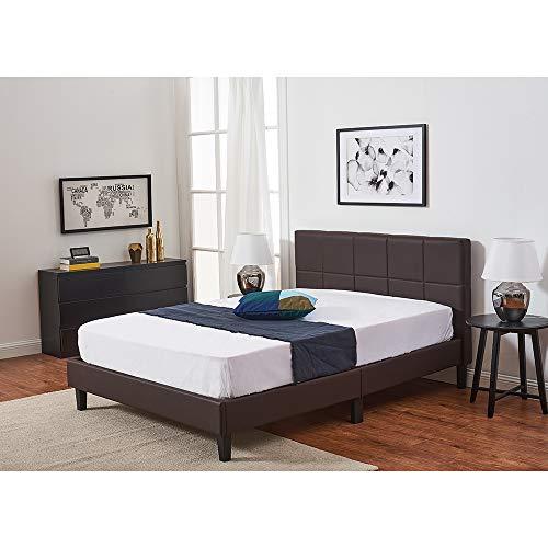Panana Faux Leather Upholstered Platform Bed Frame / Mattress Base / Wood Slat Support / Easy Assembly (Brown, 135 x 190 cm)