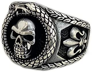 925 Sterling Silver Skull Ring Miami Mall Biker and Snake Some reservation Gothic