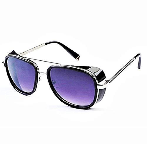 KIRALOVE Gafas de sol Tony stark - iron man - sexy - mujer - hombre - unisex - montura plateada - lente morada - gafas de sol boy iron man tony stark