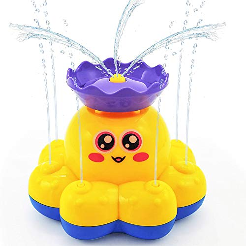HAOMARK Bath Toys, 4 Pack Bath Bathtub Spray Water Toy Sprinkler Octopus and Floating Rubber Animal Interactive Bath Toys Gift for Kids Toddlers 1-3
