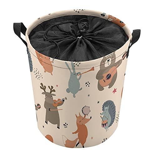 Cubo de almacenamiento impermeable grande organizador ligero cesta para la colada, cubos de juguete, cestas de regalo, ropa sucia, dormitorio de niños, baño de dibujos animados Fox Bear