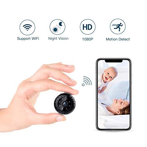 Fredi HD1080P WiFi Cámara espía videocámara Oculto Mini cámara inalámbrica cámara de vigilancia Interior visión Nocturna/detección de Movimiento IP cámara de Seguridad portátil para iPhone Android PC