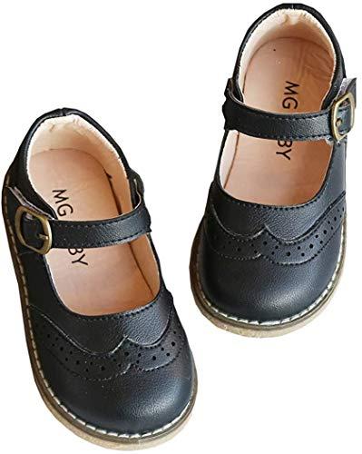 DADAWEN Girl's Strap Mary Jane School Uniform Shoes Flat Dress Shoes Black...