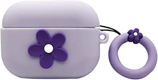 AKXOMY AirPods Pro Case, Cute 3D Flower Silicone Protective AirPods Pro Case Cover Compatible with Apple Airpods Pro Charging Case (Purple Flower)