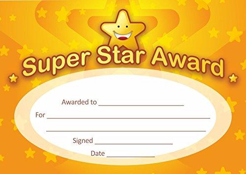 Pegatinas escolares A5 Super Star Award Certificados