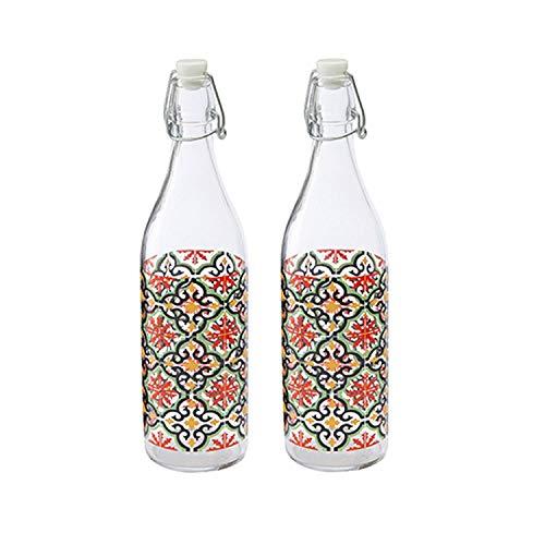 Baroni Home Set di 2 Bottiglie Acqua di Vetro da tavola decorata con tappo ermetico MADE IN ITALY capienza 1 litro