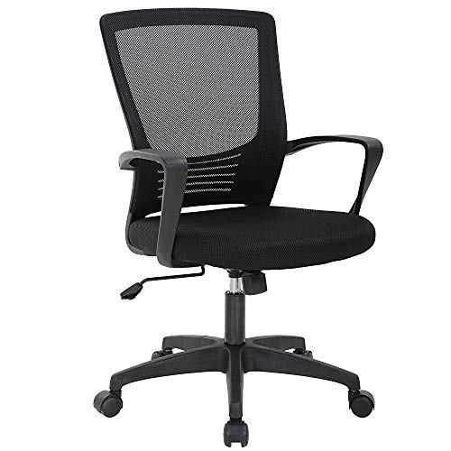 Office Chair Ergonomic Desk Chair Swivel Rolling Computer Chair Executive Lumbar Support Task Mesh Chair Metal Base for Home Office, Black