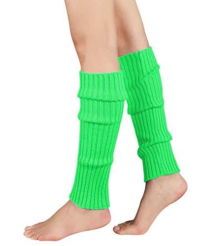 Durio Stulpen Damen Beinwärmer Winter Legwarmers Lange Ballettstulpen in vielen Farben Neon Grün One Size