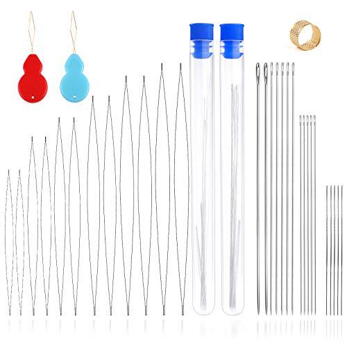 Jupean 33 Pieces Beading Needles Set, Assorted Size Beading Needles Big Eye Beading Needles Long Straight Beading Needles with Thimble, Needle Threaders, Needle Bottles