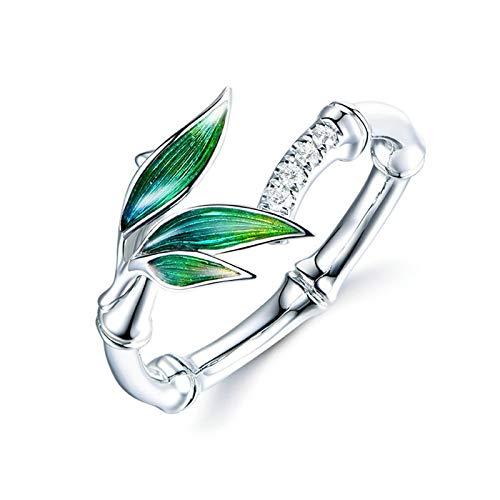 Cenliva Wedding Ring, Wedding Rings Set 18K18K Gold 0.06ct Emel Bamboo Leaves Diamond Ring Size J 1/2