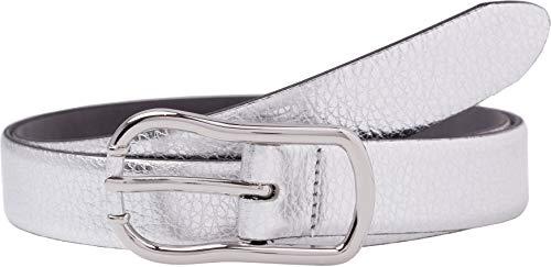 BRAX Damen Style Metallicledergürtel Gürtel, SILVER, 6651 (Herstellergröße: 95)