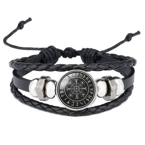 Inveroo Viking Vegvisir Kompass Anhänger Armreif Nordische Runen Männer Schmuck Odin Symbol Leder Armbänder