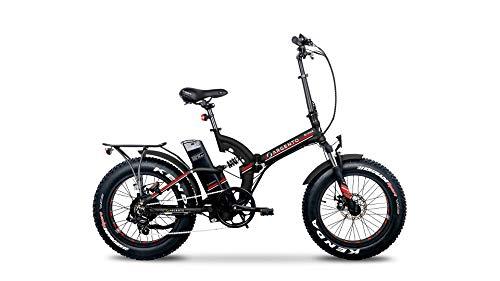 Argento Bicicletta elettrica Bimax Ruote Fat Pieghevole, Full Suspension, Unisex Adulto, Rosso, 42